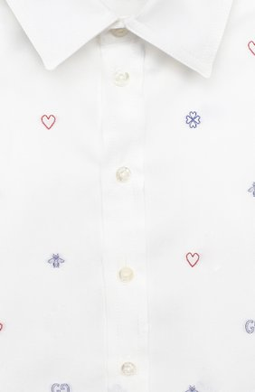 Детский хлопковая рубашка GUCCI белого цвета, арт. 626670/XWAKV   Фото 3