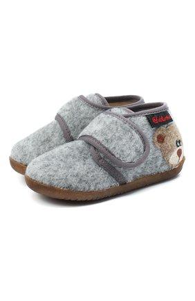 Детского домашние ботинки NATURINO серого цвета, арт. 0014000627/01/20-23 | Фото 1 (Материал внутренний: Натуральная кожа, Текстиль; Материал внешний: Текстиль; Кросс-КТ: велькро)