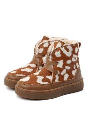 Детские кожаные ботинки DONSJE AMSTERDAM коричневого цвета, арт. 1011-CB009-00000 | Фото 1