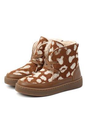 Детские кожаные ботинки DONSJE AMSTERDAM коричневого цвета, арт. 1012-CB009-00000 | Фото 1