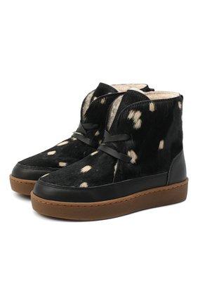 Детские кожаные ботинки DONSJE AMSTERDAM черного цвета, арт. 1012-CB005-00000 | Фото 1