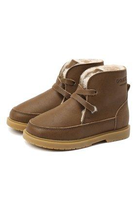 Детские кожаные ботинки DONSJE AMSTERDAM хаки цвета, арт. 1015-CL021-00000 | Фото 1