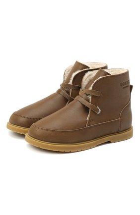 Детские кожаные ботинки DONSJE AMSTERDAM хаки цвета, арт. 1016-CL021-00000 | Фото 1