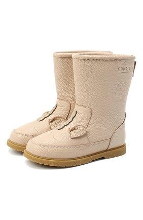 Детские кожаные сапоги DONSJE AMSTERDAM бежевого цвета, арт. 0809-ST109-CL006 | Фото 1