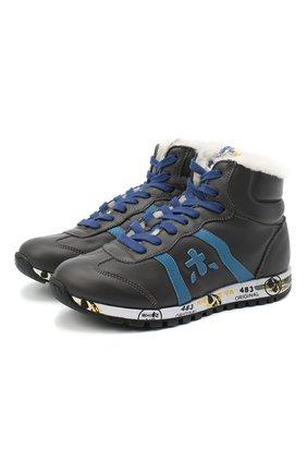 Детские высокие кроссовки PREMIATA WILL BE серого цвета, арт. ADAM-M/M0081312/JUN | Фото 1 (Материал утеплителя: Натуральный мех; Стили: Гранж)