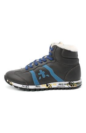 Детские высокие кроссовки PREMIATA WILL BE серого цвета, арт. ADAM-M/M0081312/JUN | Фото 2 (Материал утеплителя: Натуральный мех; Стили: Гранж)
