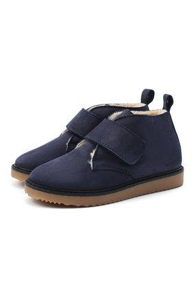 Детские кожаные ботинки EMPORIO ARMANI синего цвета, арт. XMN005/X0R07 | Фото 1
