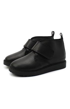 Детские кожаные ботинки EMPORIO ARMANI черного цвета, арт. XMN005/X0R08 | Фото 1
