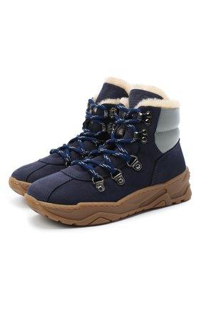 Детские кожаные ботинки EMPORIO ARMANI синего цвета, арт. XMZ002/X0R05 | Фото 1