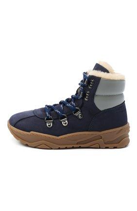 Детские кожаные ботинки EMPORIO ARMANI синего цвета, арт. XMZ002/X0R05 | Фото 2