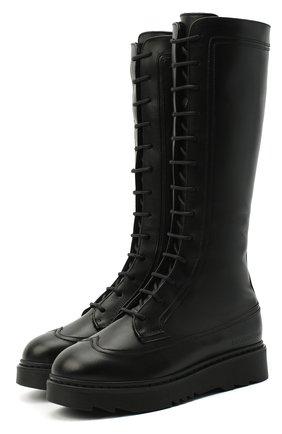 Детские кожаные сапоги EMPORIO ARMANI черного цвета, арт. XX0002/X0R04/35-40 | Фото 1