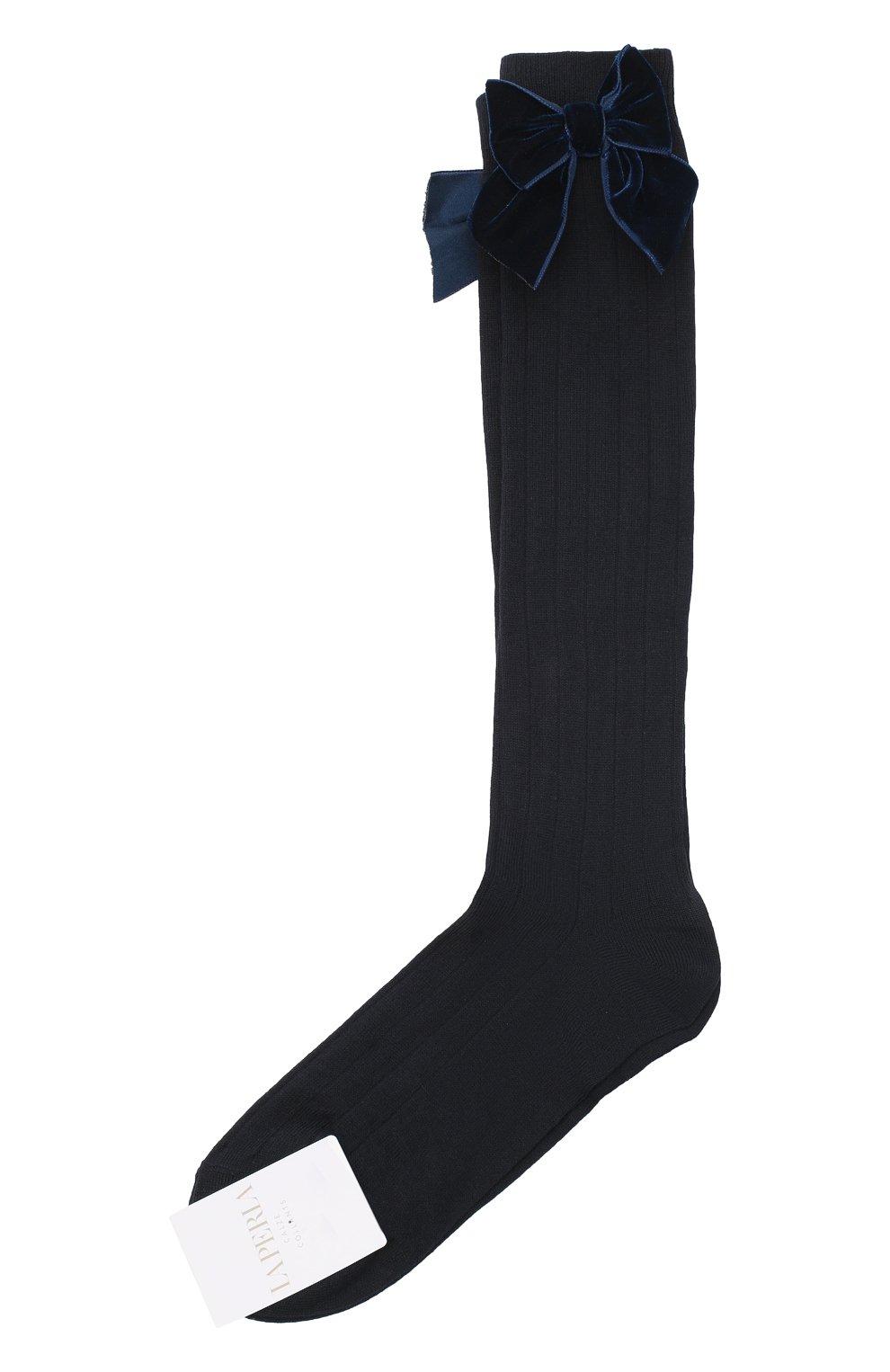 Детские хлопковые носки LA PERLA синего цвета, арт. 47872/9-12   Фото 1