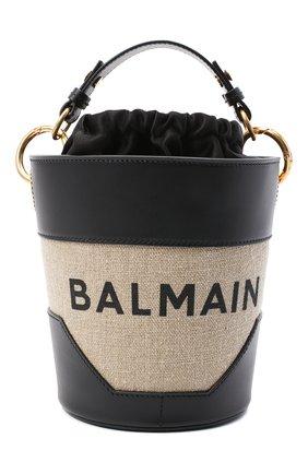 Женская сумка b-saddler 14 BALMAIN черно-белого цвета, арт. UN0S591/TCAT | Фото 1