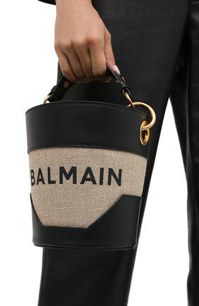 Женская сумка b-saddler 14 BALMAIN черно-белого цвета, арт. UN0S591/TCAT | Фото 2
