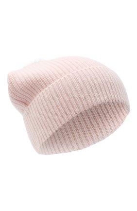 Детского кашемировая шапка с меховой отделкой YVES SALOMON ENFANT розового цвета, арт. 20WEA500XXCARD | Фото 1