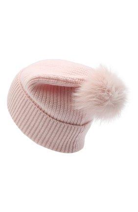 Детского кашемировая шапка с меховой отделкой YVES SALOMON ENFANT розового цвета, арт. 20WEA500XXCARD | Фото 2