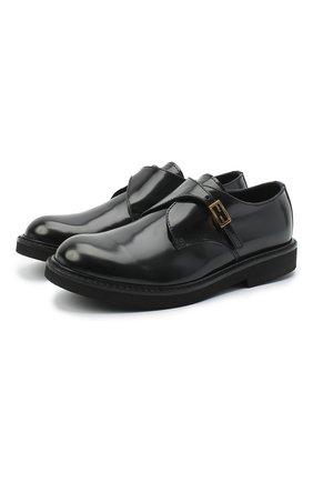 Детские кожаные монки FENDI черного цвета, арт. JMR344/PJQ/32-39 | Фото 1 (Материал внутренний: Натуральная кожа; Материал внешний: Кожа; Мальчики Кросс-КТ: дерби; Случай: Вечерний)