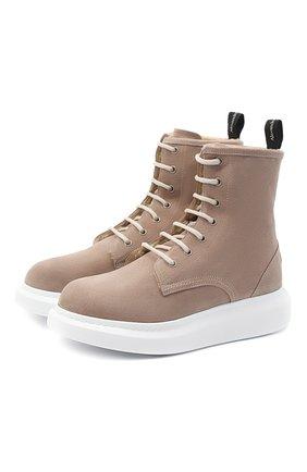 Женские кожаные ботинки ALEXANDER MCQUEEN серого цвета, арт. 609651/WHWJ8 | Фото 1