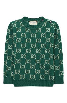 Детский шерстяной пуловер GUCCI зеленого цвета, арт. 615411/XKBD7 | Фото 1