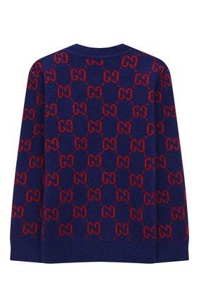 Детский шерстяной пуловер GUCCI темно-синего цвета, арт. 615411/XKBD7 | Фото 2