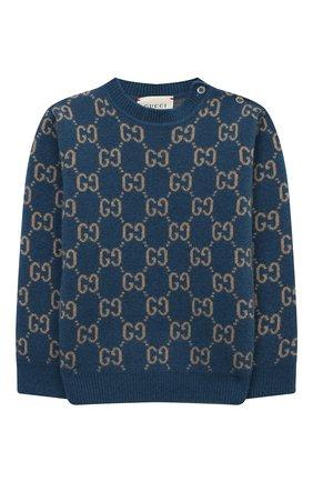 Детский шерстяной пуловер GUCCI голубого цвета, арт. 615411/XKBD7 | Фото 1