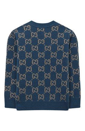 Детский шерстяной пуловер GUCCI голубого цвета, арт. 615411/XKBD7 | Фото 2