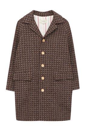 Детское пальто GUCCI коричневого цвета, арт. 616187/XWAJQ | Фото 1