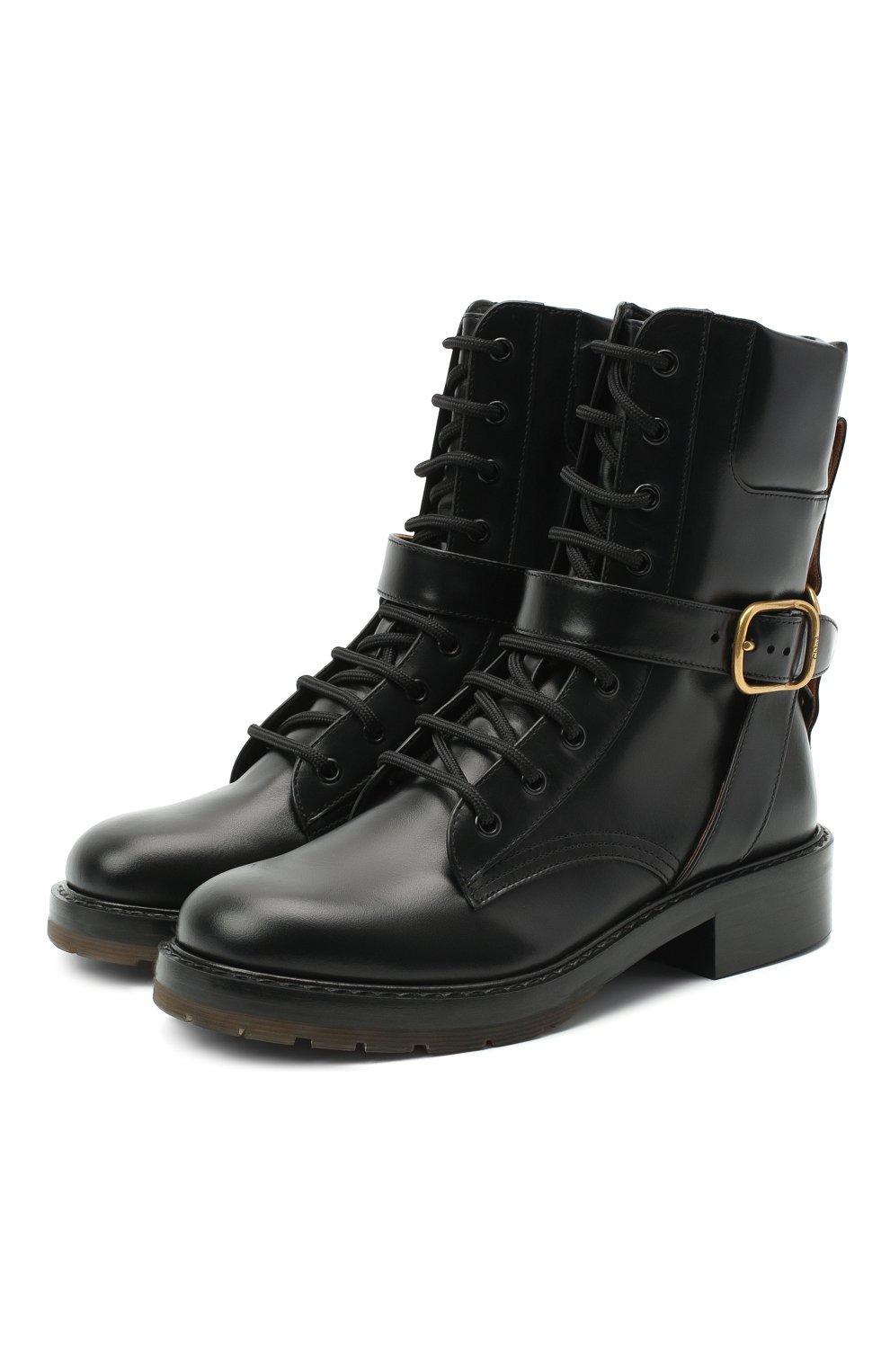 Женские кожаные ботинки diane CHLOÉ черного цвета, арт. CHC20A349L4 | Фото 1