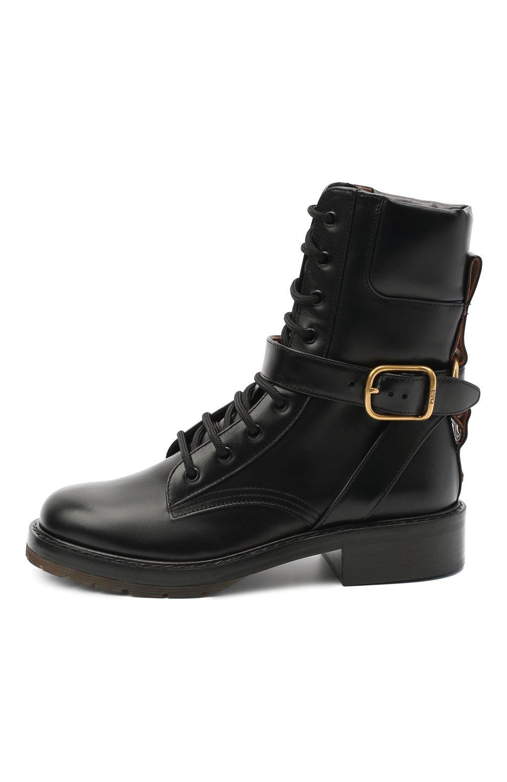 Женские кожаные ботинки diane CHLOÉ черного цвета, арт. CHC20A349L4 | Фото 3