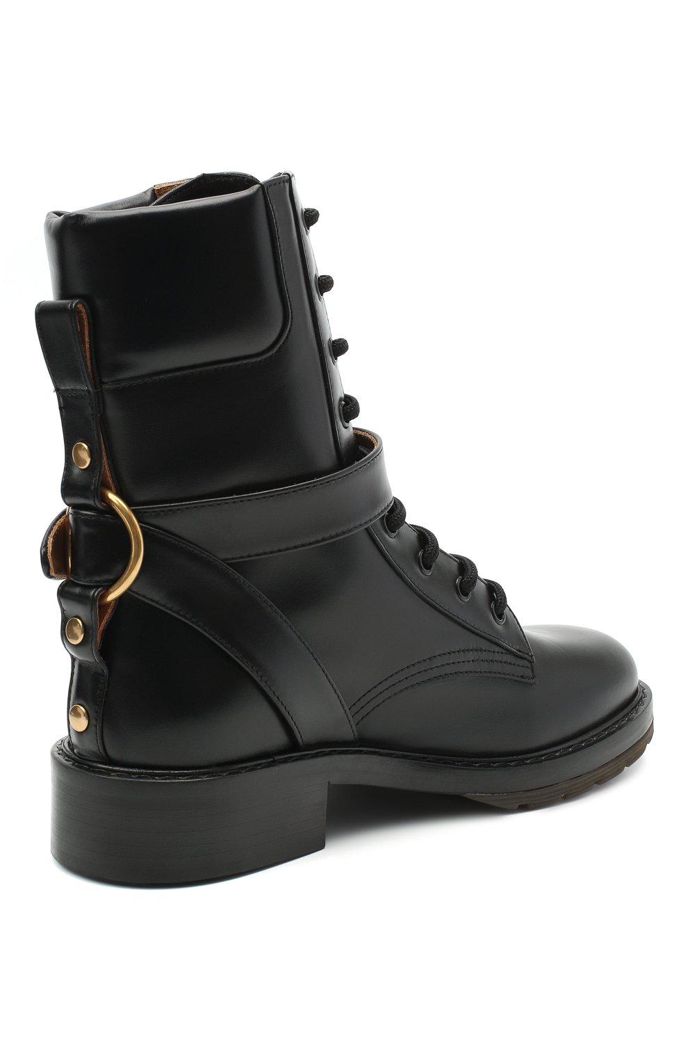 Женские кожаные ботинки diane CHLOÉ черного цвета, арт. CHC20A349L4 | Фото 4