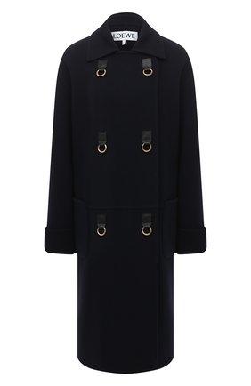 Женское пальто из шерсти и кашемира LOEWE темно-синего цвета, арт. S359336X68 | Фото 1