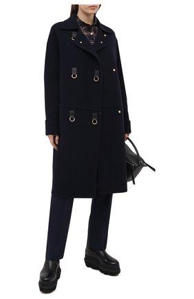 Женское пальто из шерсти и кашемира LOEWE темно-синего цвета, арт. S359336X68 | Фото 2