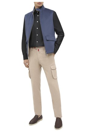 Мужская хлопковая рубашка KITON темно-серого цвета, арт. UMCNERH0741801   Фото 2