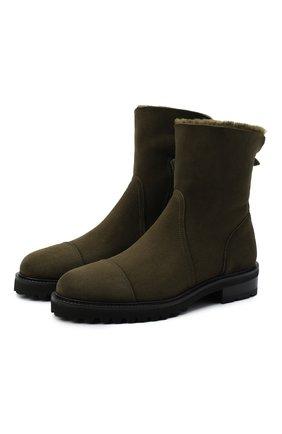 Женские замшевые ботинки KITON хаки цвета, арт. D50805X04T78 | Фото 1