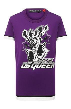 Женская хлопковая футболка DOLCE & GABBANA фиолетового цвета, арт. F8M20T/FI7V7 | Фото 1