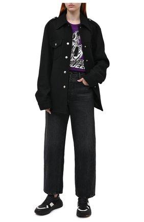 Женская хлопковая футболка DOLCE & GABBANA фиолетового цвета, арт. F8M20T/FI7V7 | Фото 2