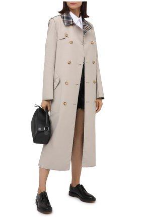 Женская кожаные дерби BRUNELLO CUCINELLI черного цвета, арт. MZPRC1904   Фото 2