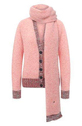 Женский шерстяной кардиган VICTORIA BECKHAM розового цвета, арт. 1320KJU001538A | Фото 1