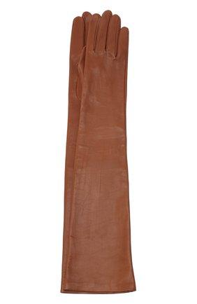 Женские кожаные перчатки DRIES VAN NOTEN коричневого цвета, арт. 202-10102-101 | Фото 1