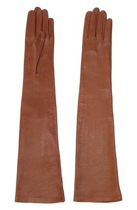 Женские кожаные перчатки DRIES VAN NOTEN коричневого цвета, арт. 202-10102-101 | Фото 2