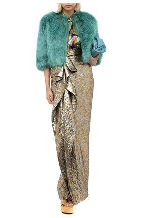 Женская накидка DRIES VAN NOTEN бирюзового цвета, арт. 202-10514-1123 | Фото 2