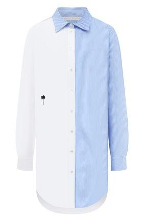 Женская хлопковая рубашка PALM ANGELS светло-голубого цвета, арт. PWGA038F20FAB0020140   Фото 1