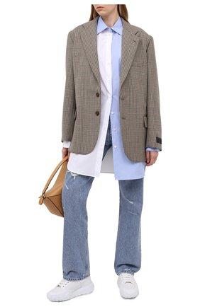 Женская хлопковая рубашка PALM ANGELS светло-голубого цвета, арт. PWGA038F20FAB0020140   Фото 2