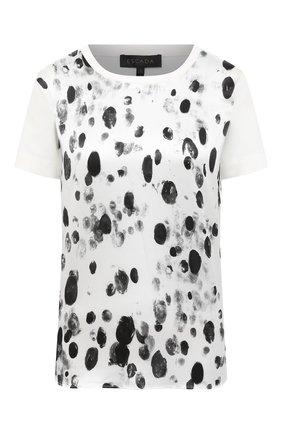 Женская футболка из шелка и хлопка ESCADA черно-белого цвета, арт. 5034370 | Фото 1