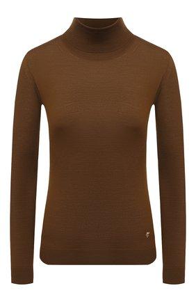 Женская шерстяная водолазка VERSACE темно-коричневого цвета, арт. A87619/A235892   Фото 1 (Материал внешний: Шерсть; Рукава: Длинные; Длина (для топов): Стандартные; Стили: Кэжуэл; Женское Кросс-КТ: Водолазка-одежда)