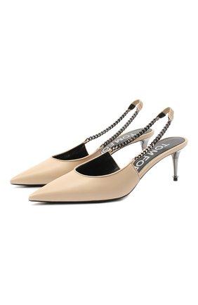 Женские кожаные туфли TOM FORD бежевого цвета, арт. W2730R-LKD002 | Фото 1