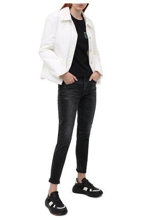 Женская хлопковая футболка HELMUT LANG черного цвета, арт. K06DW504 | Фото 2