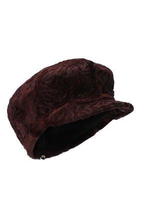 Женская кепка из каракульчи клара FURLAND бордового цвета, арт. 0129707810048200000 | Фото 1