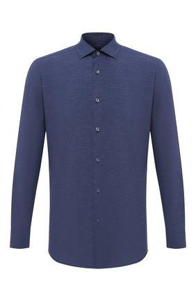 Мужская хлопковая рубашка ERMENEGILDO ZEGNA темно-синего цвета, арт. UVX07/SAF2 | Фото 1