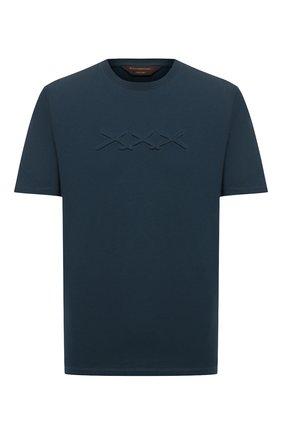Мужская хлопковая футболка ZEGNA COUTURE синего цвета, арт. CVCJ15/8VJ04 | Фото 1